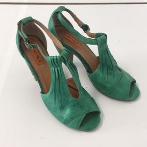 Miz Mooz Sea Green Vintage-Inspired strappy heel